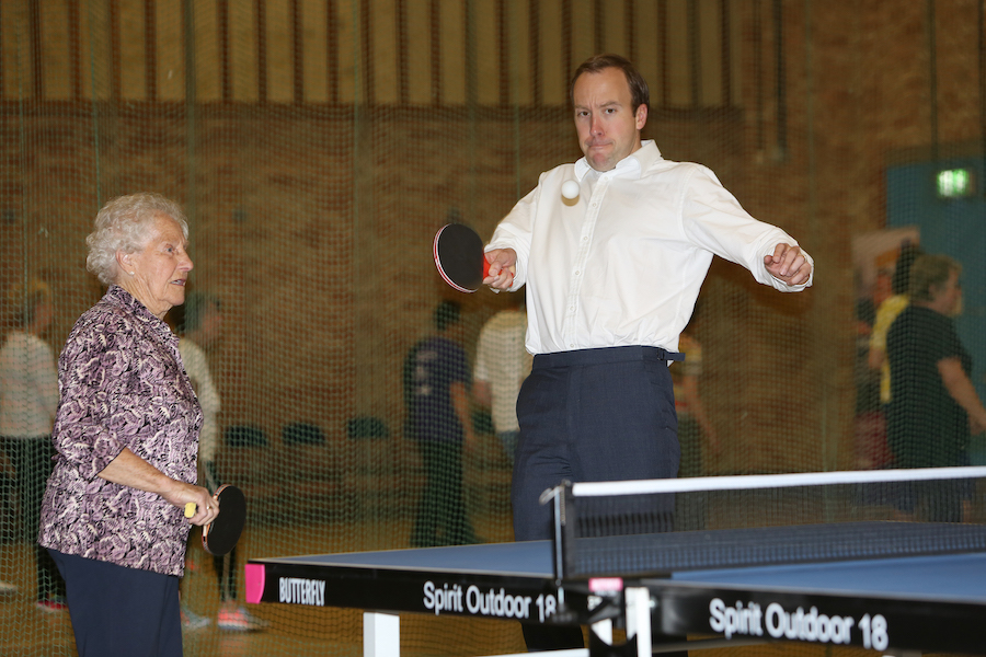 Matt Hancock table tennis