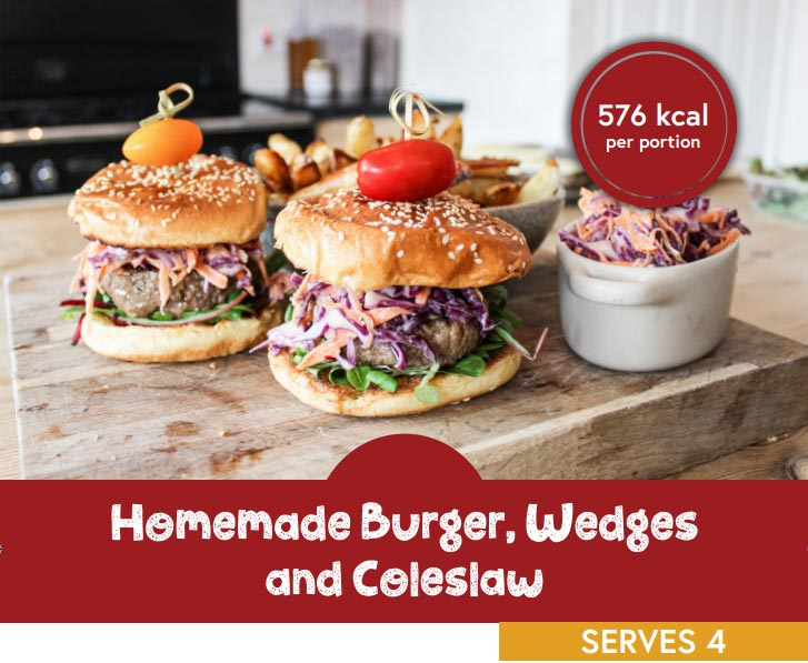 Homemade burger, wedges and coleslaw