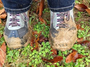 pair of muddy shoes