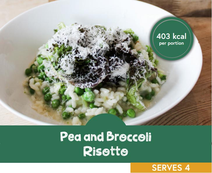 Pie and broccoli risotto