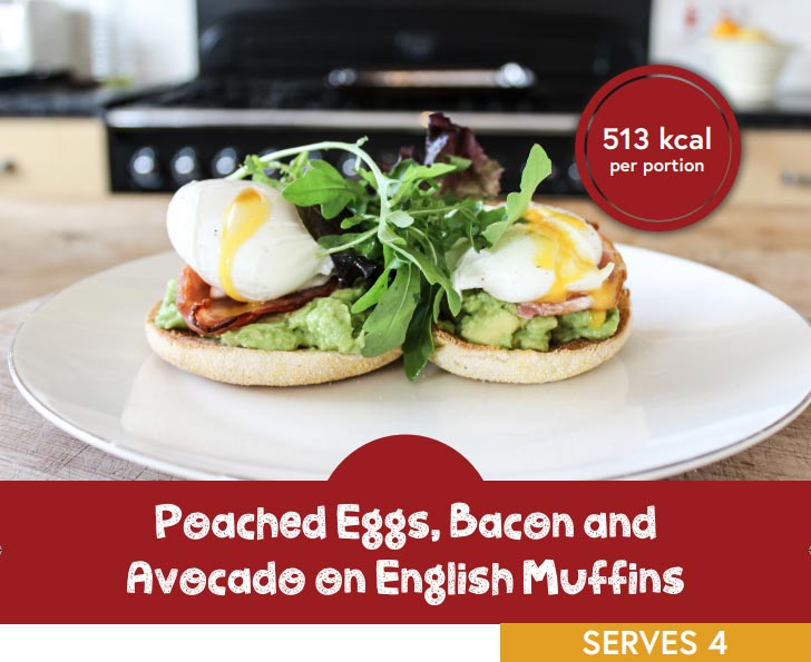 Poached eggs, bacon and avocado on English muffins