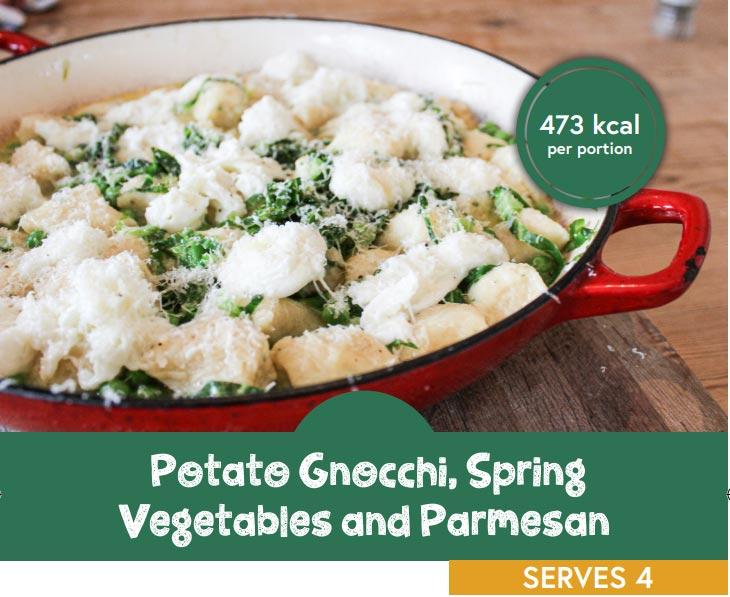 Potato Gnocchi, spring vegetables and parmesan