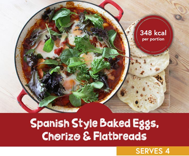Spanish style backed eggs, chorizo and flatbreads