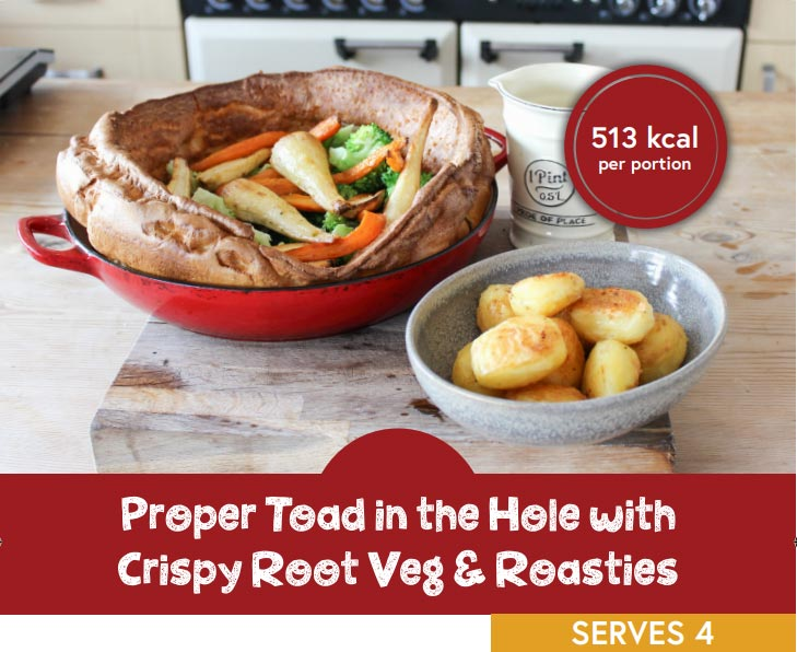 Toad in the hole with crispy root vegetables and roast potatoes