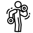 Icon outline of person lighting gym weight