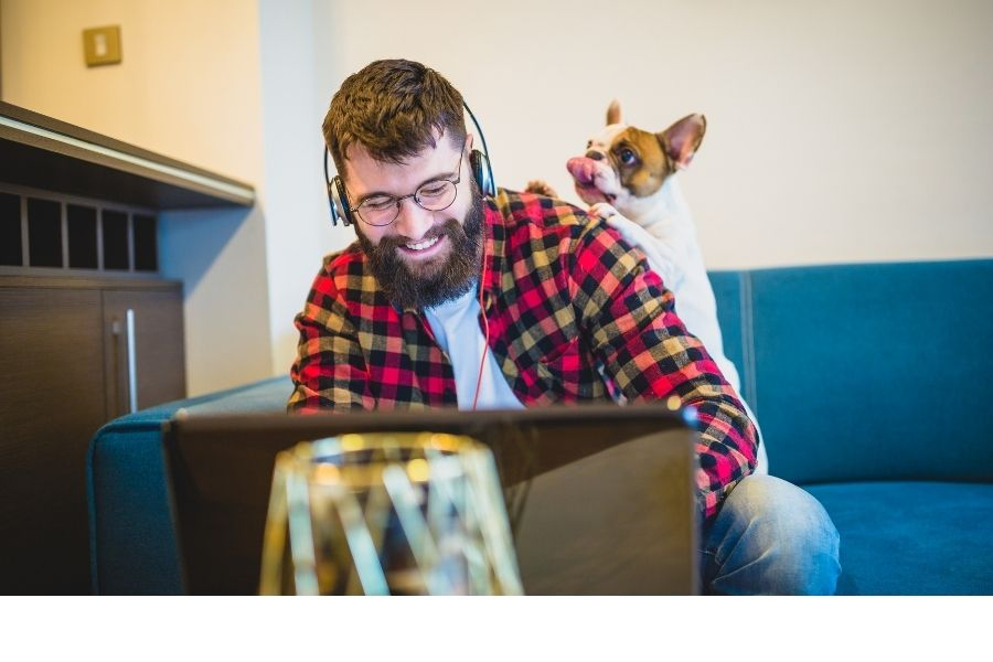 Man working on a laptop with little dog jumpng on his shoulder