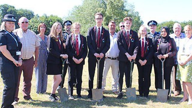 Students and partners breaking ground at mildenhall hub