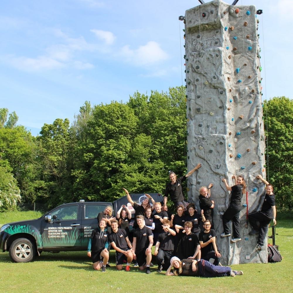 Abbeycroft staff with climbing wall