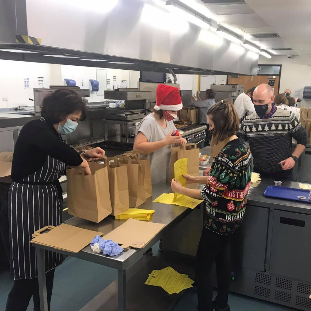 Food being prepared in college kitchens  for xmas deliveries