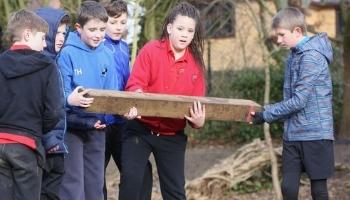 Kids in team building at school