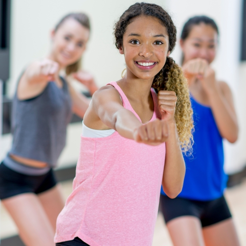 teenagers in a exercise class