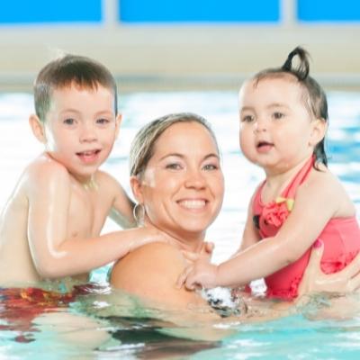 mum and children swimming