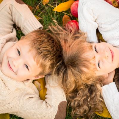 Children enjoying autumn